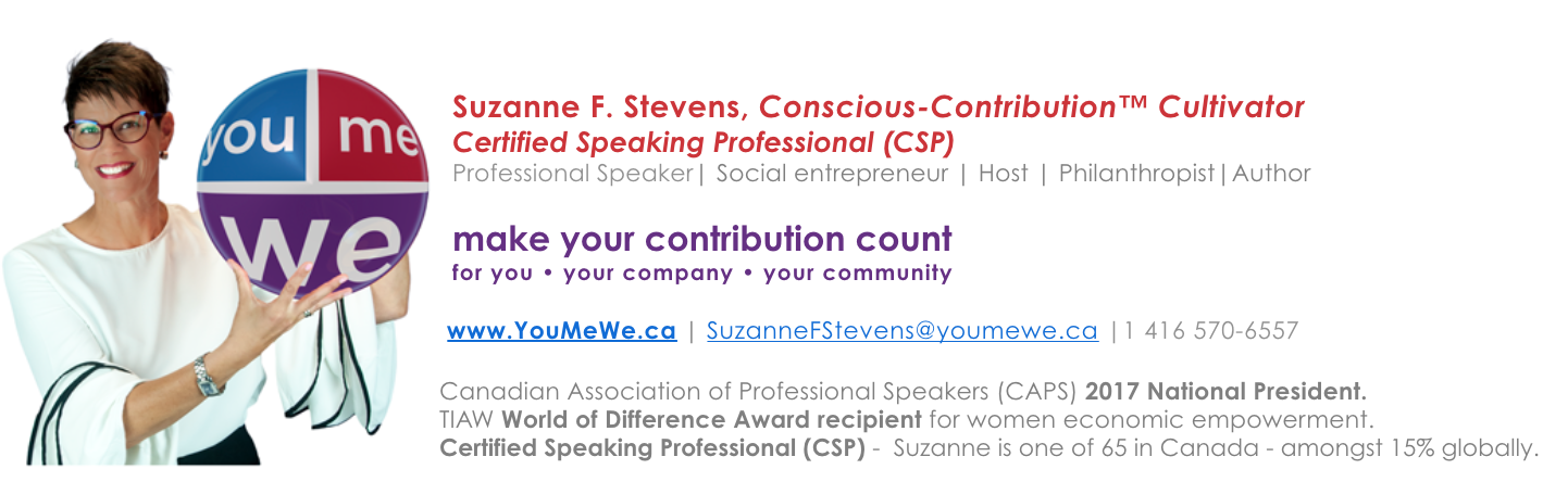 Suzanne F. Stevens, Conscious-Contribution Cultivator YouMeWe.ca