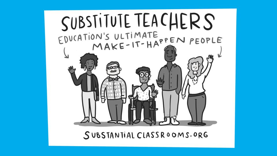 graphic of a diversity of substitute teachers